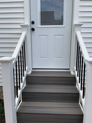 New door and composite stairs and railing